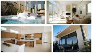 external and internal views of the model home of aura at miralon