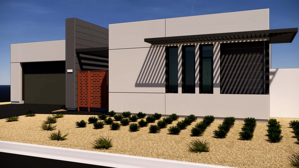 exterior rendering Residence 1A Gallery at Miralon Palm Springs
